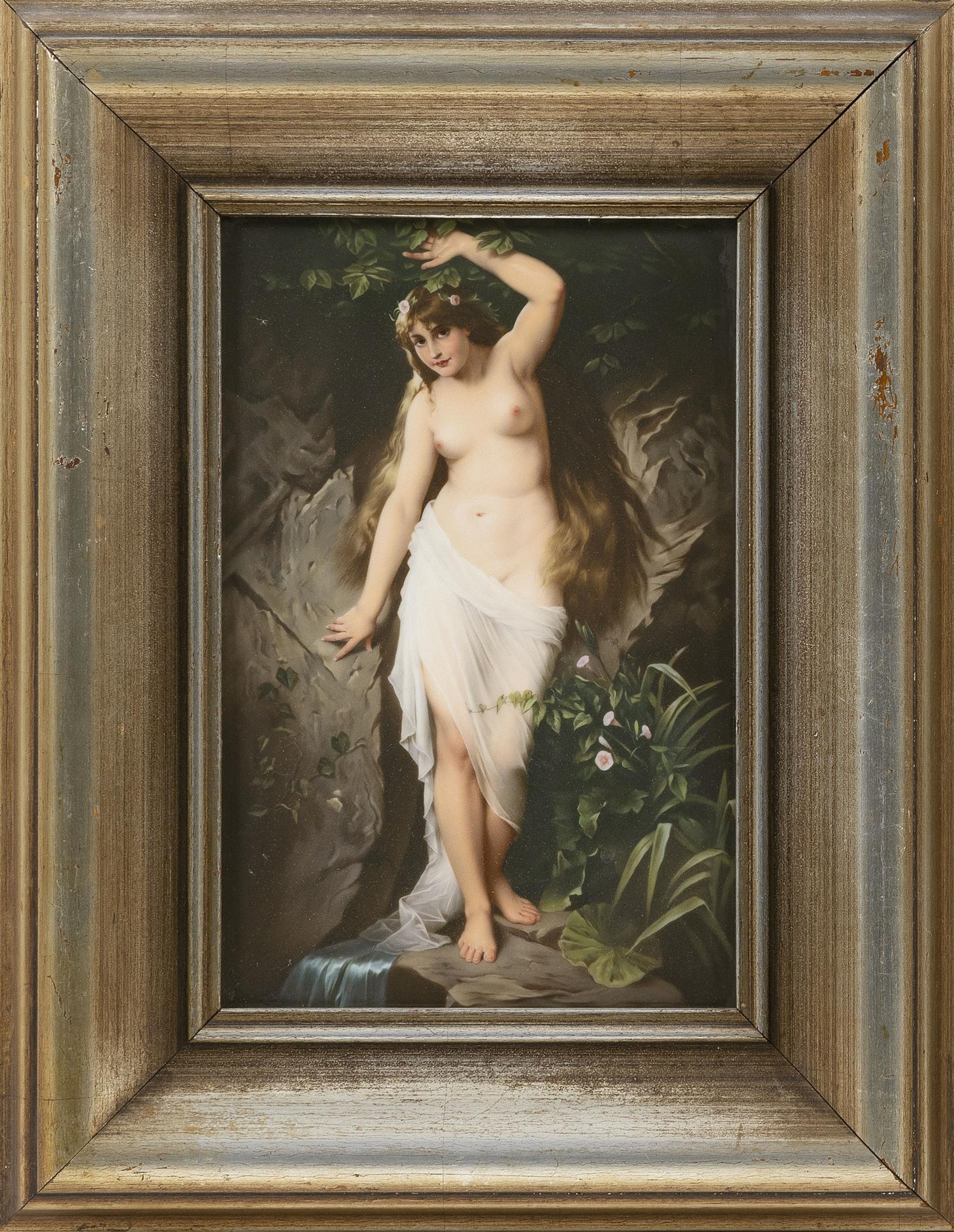 "KPM PORCELAIN PLAQUE Titled ""Die Quelle, after R, Beuschlag"". Depicts a young woman in a diaphanous drape standing in a forest grott..."