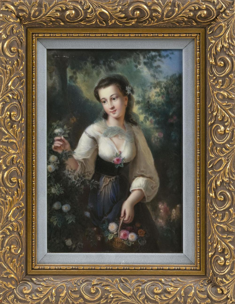 """KPM PORCELAIN PLAQUE Depicts a young woman picking roses in a garden. Signed illegibly lower right. Inscribed verso """"... Guido Rathk..."""