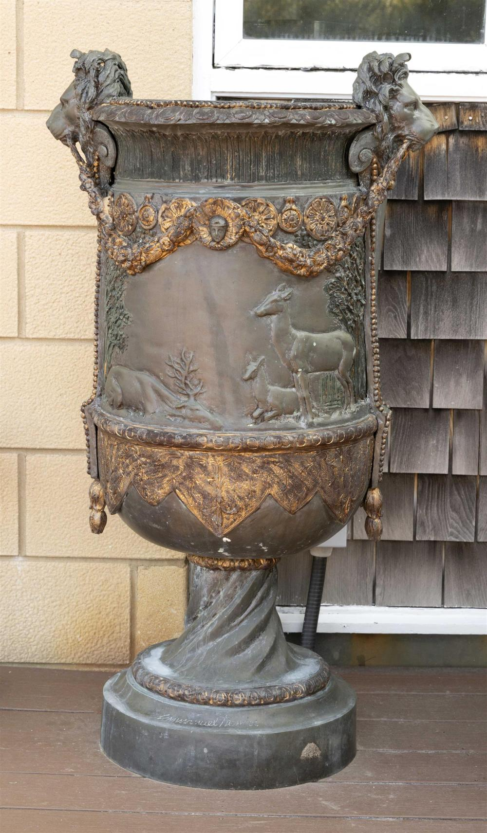 PAIR OF LARGE PATINATED BRONZE GARDEN URNS BY EMMANUEL FREMIET Cast at the turn of the 20th Century. In classical form, with bas rel...
