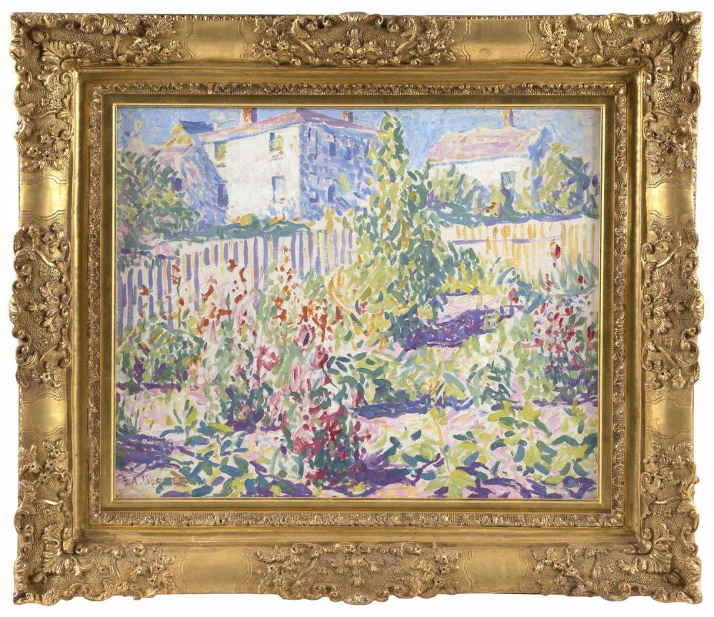 "E. AMBROSE WEBSTER, Massachusetts, 1869-1935, ""Provincetown Garden, 1916""., Oil on canvas, 20"" x 24"". Framed 28.5"" x 33""."
