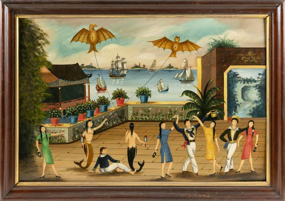 "RALPH EUGENE CAHOON, JR., Cape Cod, 1910-1982, Wedding Dance., Oil on masonite, 25.5"" x 38"". Framed 30"" x 43""."