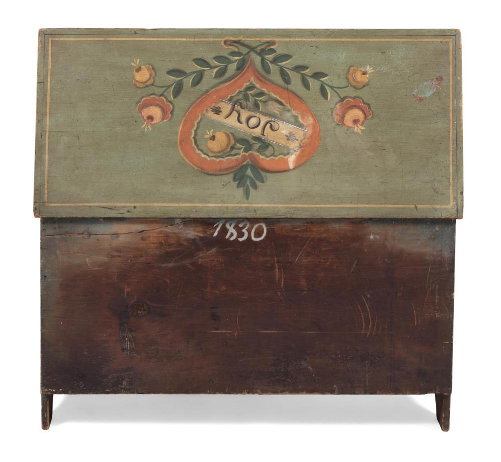 RALPH AND MARTHA CAHOON, Cape Cod, 1910-1982 and 1905-1999, Pine six-board chest with painted decoration., Height 24.5