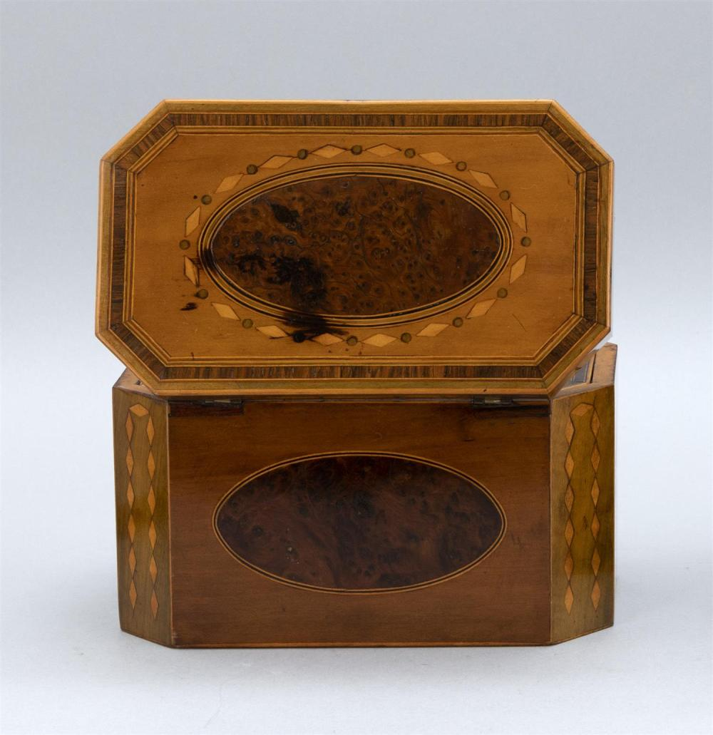 ENGLISH BURLWOOD TEA CADDY With fruitwood veneer panels and inlay. Compartmented interior. Height 5.25