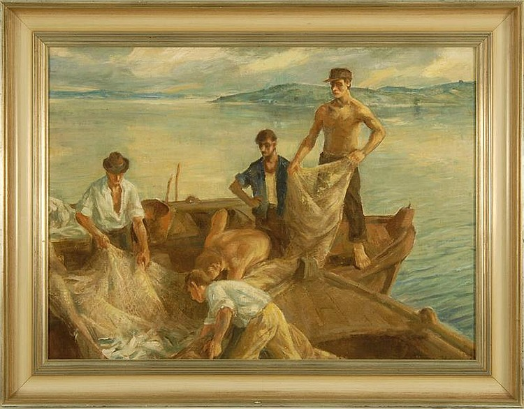 PAL UDVARY, Hungarian, 1900-, Net fisherman., Oil on canvas, 22½