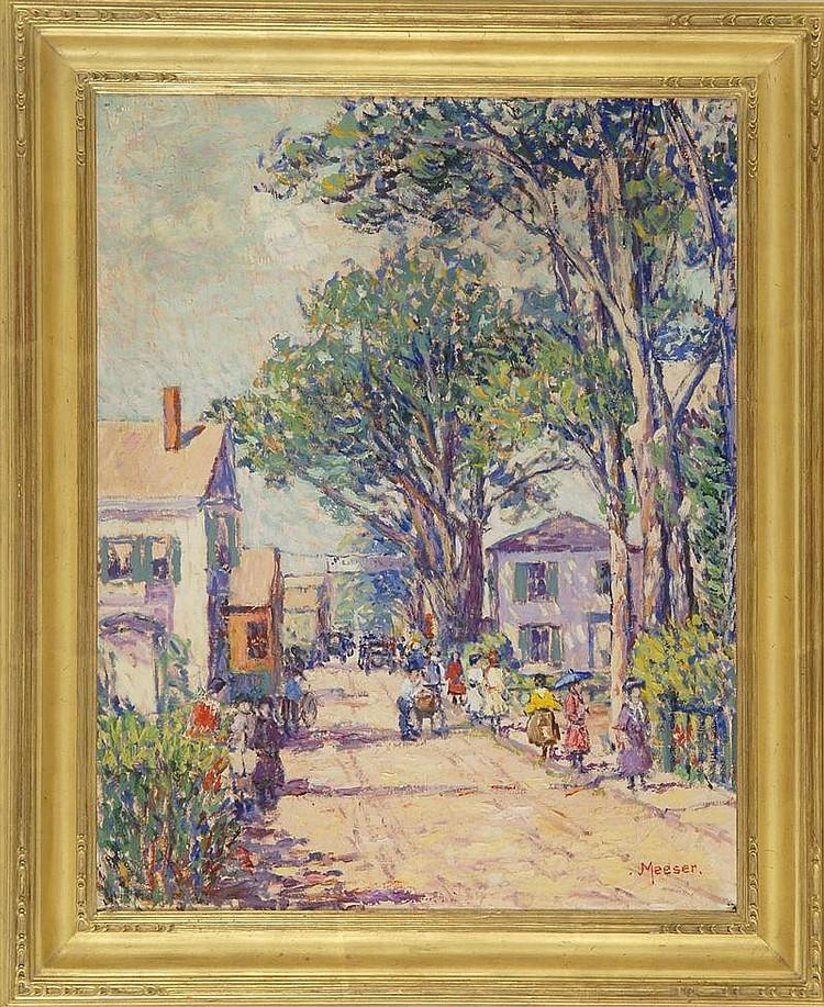 LILLIAN BURK MEESER, American, 1864-1942, Summer street scene, likely Provincetown, MA., Oil on canvas, 25