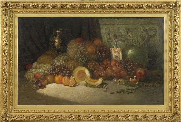 GEORGE WILLIAM WHITAKER, American, 1840-1916, Still life with assorted fruit, wine bottle, and crockery., Oil on canvas, 35¼