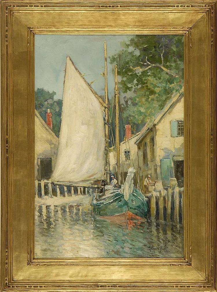 ARTHUR VIDAL DIEHL, American, 1870-1929, Provincetown dock scene., Oil on board, 23¼