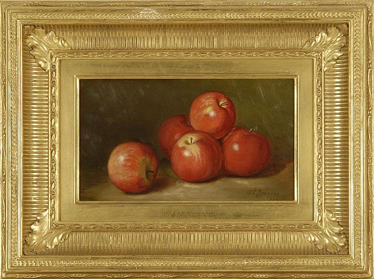 JOHN CLINTON SPENCER, American, 1861-1919, Still life with apples., Oil on canvas, 7