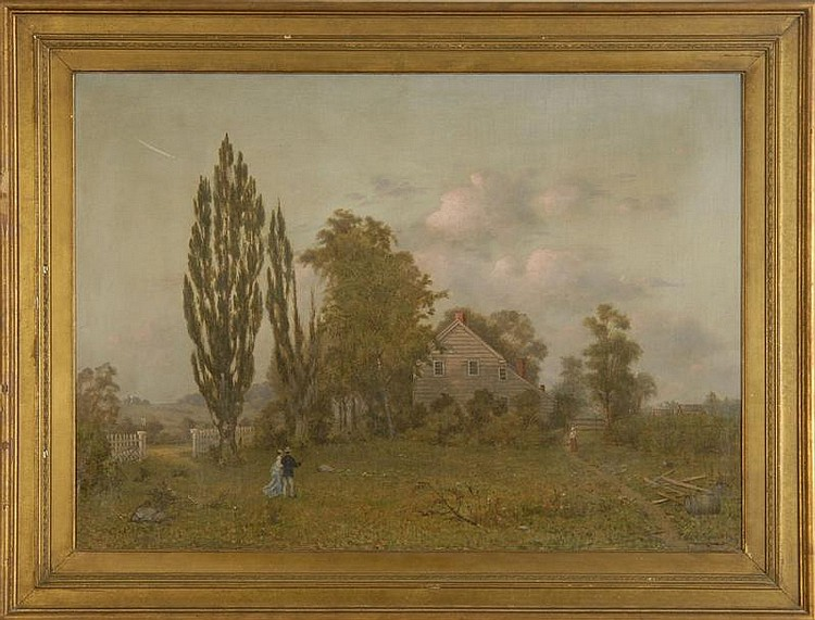 JOHN J. HAMMER, American, 1842-1906, Rural landscape with farmhouse,, Oil on canvas, 26
