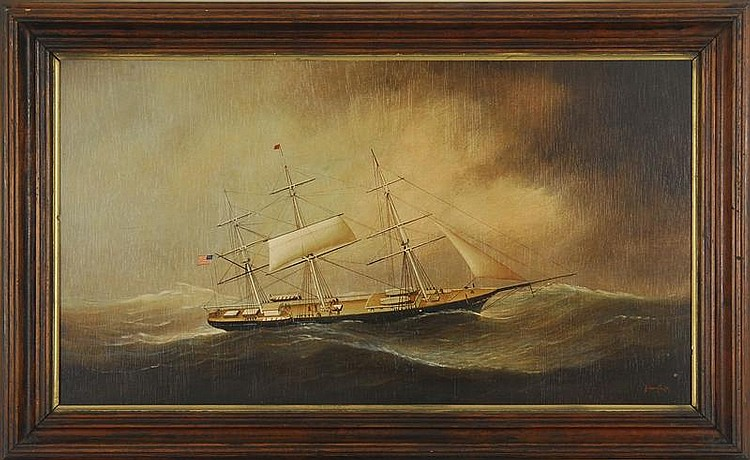 BRIAN COOLE, British, b. 1939, An American ship in stormy seas., Oil on board, 20½