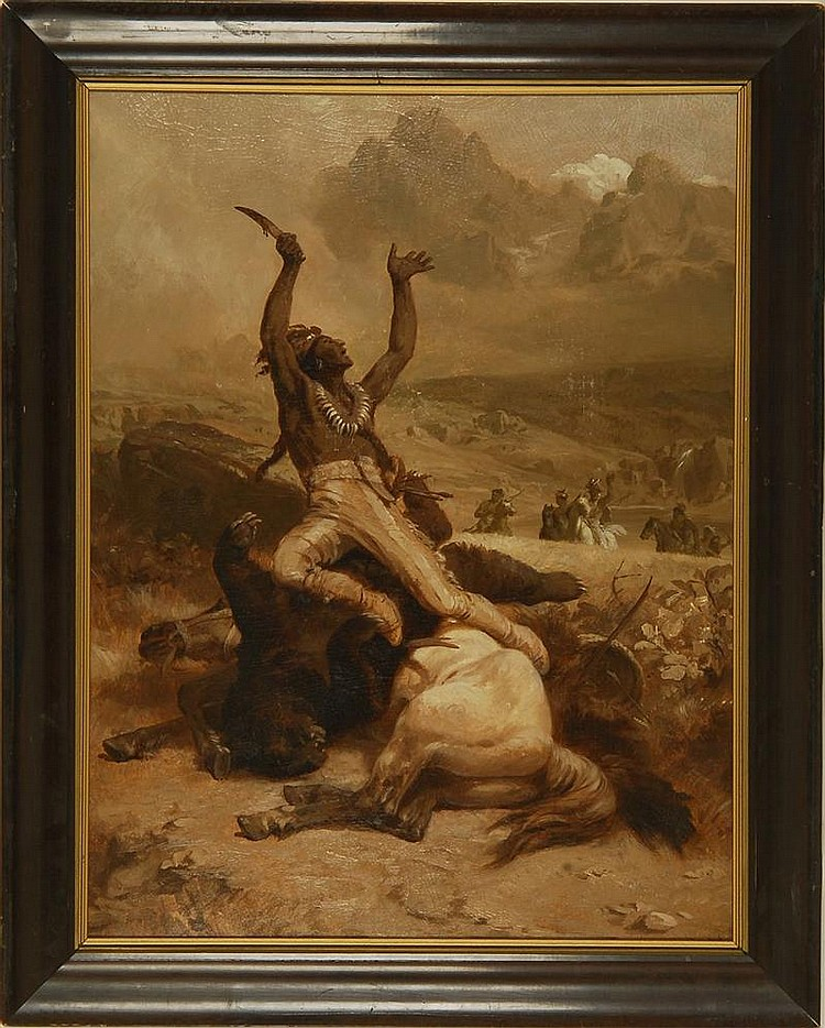 JOHANNES ADAM SIMON OERTEL, American, 1823-1909, An Indian brave celebrating a slain bear., Oil on board, 24