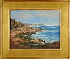 "WINIFRED W. COMPTON, American, 1900-1982, ""Maine Coast""., Oil on canvas board, 14"" x 18"". Framed."