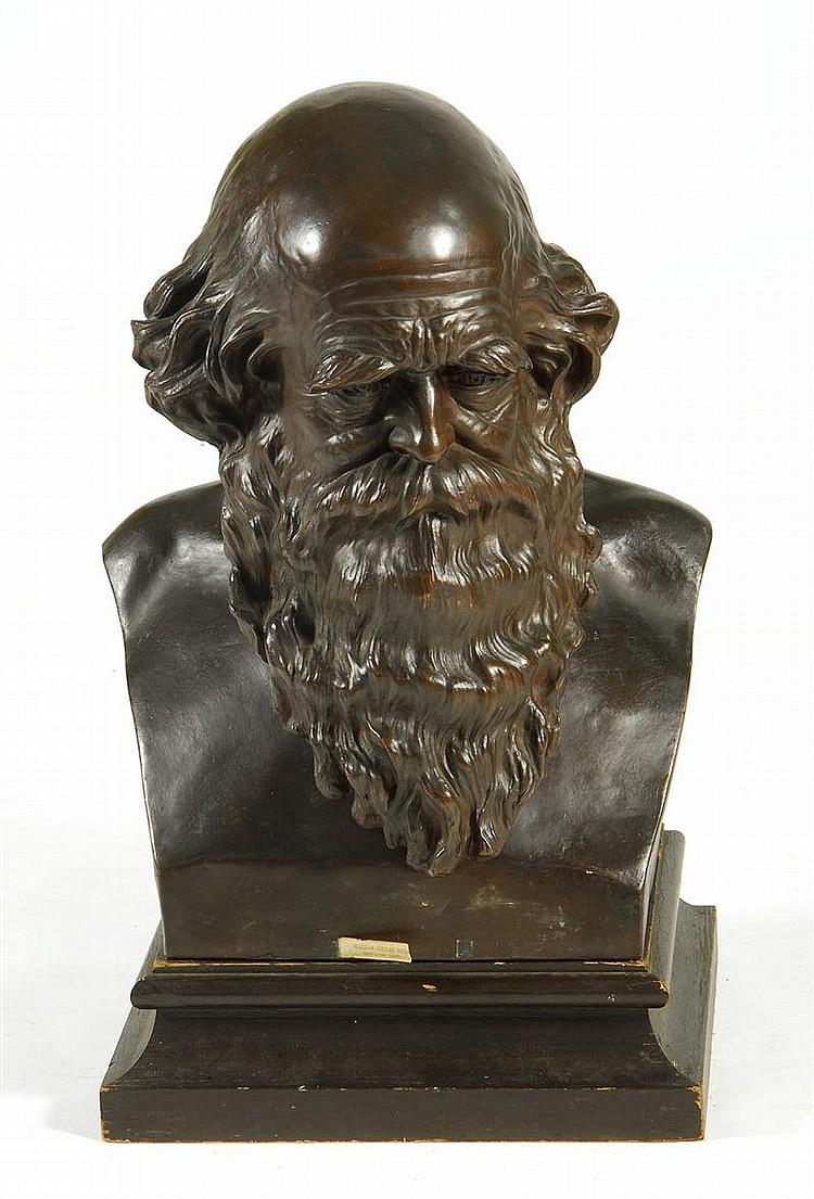 JAMES WILSON MACDONALD, American, 1824-1908, Bronze bust of William Cullen Bryant., Height 22½