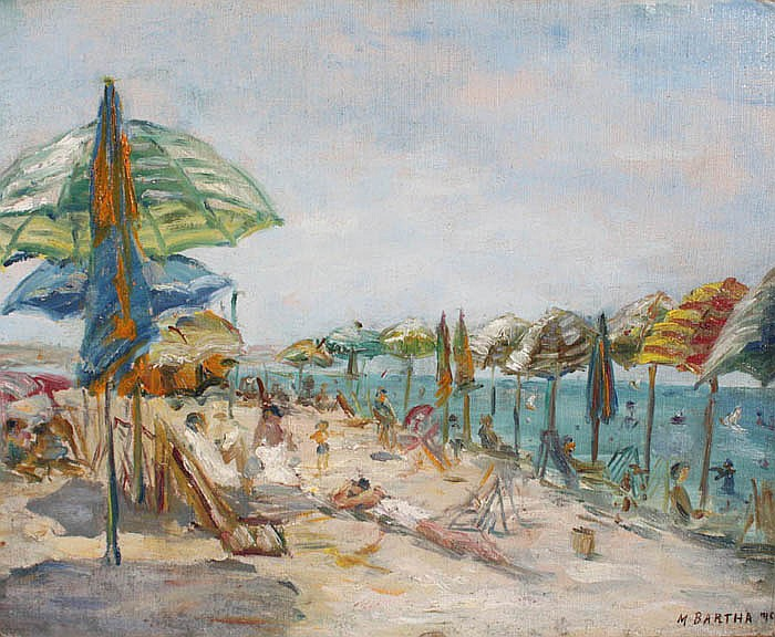 POSSIBLY MARIA BARTHA, 1897-1968, Sunbathers on a beach., Oil on board, 17¾