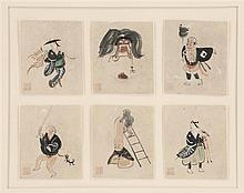 SIX OTSU-E PAINTINGS ON PAPER Depicting shinto figures. Each. 4.5