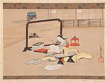 SCROLL PAINTING ON PAPER Attributed to Kasho. Depicting a seated poetess beside a tsuitate screen. Signed and seal marked. 12.5