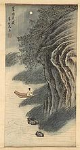 SCROLL PAINTING ON SILK Figure in a boat beneath rocky cliffs. 21