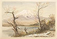 PAINTING ON PAPER View of Mount Fuji and a lake. Signed lower right in Japanese. Watercolor and gouache, 10.25
