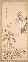 SCROLL PAINTING ON PAPER Depicting three sages in a mountain landscape. 48.5