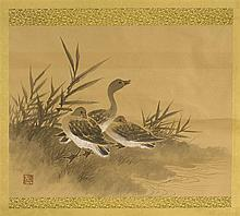 SCROLL PAINTING ON PAPER Depicting three geese and marsh grasses. Signed with seal mark. 18 x 23