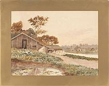 TOKUSABURO KOBAYASHI Farming scene on a river with figures and a barn. Signed lower left