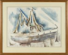 """VICTOR DE CARLO, American, 1916-1973, """"High Noon Provincetown""""., Watercolor on paper, 18.5"""" x 25"""". Framed 26"""" x 31""""."""