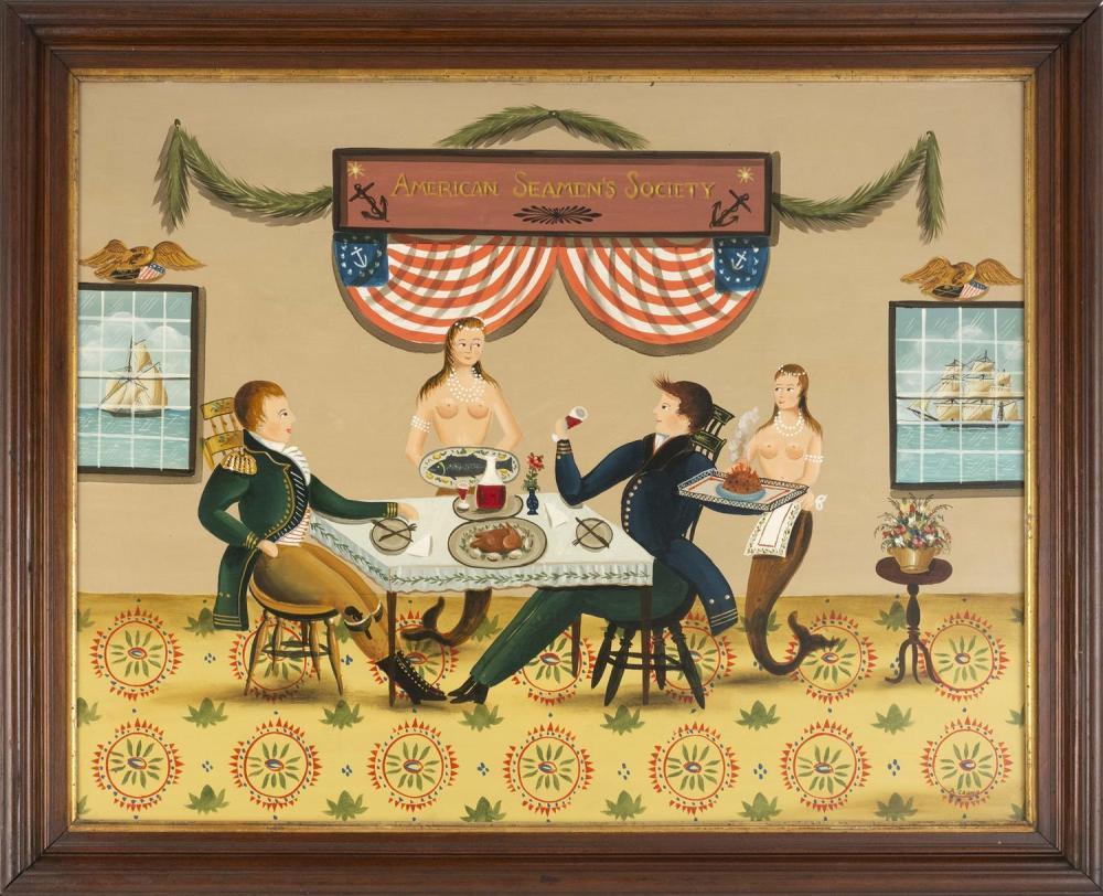 "RALPH EUGENE CAHOON, JR., Cape Cod, 1910-1982, ""American Seamen's Society""., Oil on masonite, 22"" x 28"". Framed 26"" x 32""."