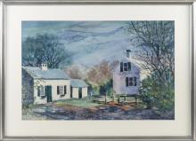 "ELIZABETH PRATT, Cape Cod, Contemporary, Truro house and barn., Watercolor on paper, 18"" x 28"" sight. Framed, 26"" x 36""."