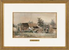 """FRANCIS AUGUSTUS SILVA, New York, 1835-1886, """"Summer in Connecticut""""., Watercolor on paper, 9.25"""" x 16.25"""" sight. Framed."""