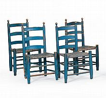 SET OF FOUR LADDERBACK SPLINT-SEAT SIDE CHAIRS Under blue paint.