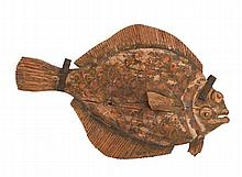 HAND-CARVED WOODED SIGN IN THE FORM OF A FLOUNDER Once hung in the dining room of Anthony's Pier 4 in Boston. Length 57