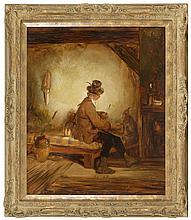 AMERICAN SCHOOL, Mid-19th Century, Interior scene with boy and monkey., Oil on canvas, 24