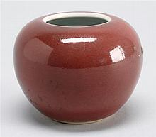 SANG DE BOEUF GLAZE PORCELAIN WRITER'S COUPE In ovoid form. Four-character mark on base. Diameter 3.5