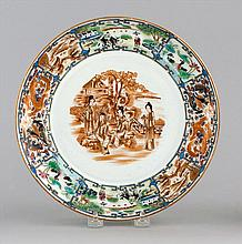 PORCELAIN PLATE Central sepia decoration of figures in a landscape, surrounded by a border of alternating panels of rose mandarin, r...