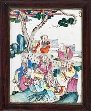 FAMILLE ROSE PORCELAIN TILE PAINTING In rectangular form. Depicting eight sages in a pine grove. 9