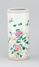 POLYCHROME PORCELAIN CYLINDER VASE With bird and floral design. Six-character Guangxu mark on base. Height 11