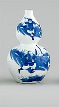 BLUE AND WHITE PORCELAIN BOTTLE VASE In double gourd form with decoration of battling warriors. Six-character Kangxi mark on base. H...