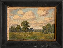 JAMES GOODWIN MCMANUS, American, 1882-1958, Cloud-filled landscape, likely Connecticut., Oil on board, 10