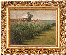CHESTER LOOMIS, American, 1852-1924, A field of flowers by the sea., Oil on canvas, 17