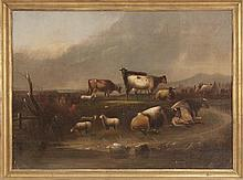 ATTRIBUTED TO WALDO EDMUND BEMIS, American, 1891-1951, Rural landscape with cattle and sheep., Oil on canvas, 26