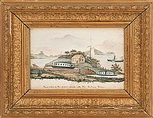HUDSON RIVER SCHOOL, 19th Century, Depicts goats, a church and a paddle wheeler flying an American flag., Watercolor, 6