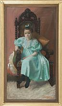 JOSEPH HENRY HATFIELD, American, 1863-1928, Portrait of a young girl in a blue dress, Pastel on canvas, 52