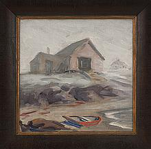 FREDERICK JULIAN ILSLEY, American, 1855-1933, Boathouse by the shore., Oil on canvas, 14