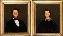 """PAIR OF PORTRAITS A gentleman with mutton chops and a woman wearing a lace collar. Unsigned. Oils on canvas, 28"""" x 23"""". Framed."""