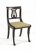 DUNCAN PHYFE CLASSICAL SIDE CHAIR In mahogany with lyre-form back. Pale green damask upholstered slip seat. Saber-form front legs wi...