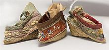 THREE EMBROIDERED LOTUS SHOES Nicely embroidered with flowers and vines on silk. Two could be a pair although not quite matching. Le...