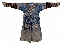 SILK NEEDLEWORK-ON-GAUZE SUMMER ROBE With five-claw dragon design in blue with gold threadwork.