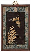 KESI FABRIC PANEL Depicting orchids on a black ground. Framed. Overall 17.75