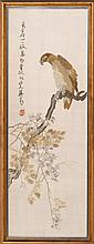 SILK NEEDLEWORK PICTURE Depicting a hawk on a flowering branch. 40