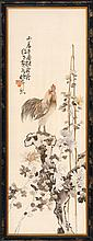 SILK NEEDLEWORK PICTURE Depicting a rooster and peonies with signature and seal mark. 39